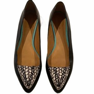 Coach Oakland Leather Snake Black Pointed Flat
